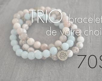 TRIO de bracelets - pierres naturelles - bois - faites votre choix - Coco Matcha