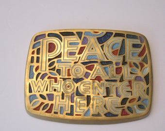 Modernist 1966 Terra Sancta Creations Enameled Brass Wall Hanging - Ade Bethune Era Religious Art - House Blessing - Peace to All Who Enter
