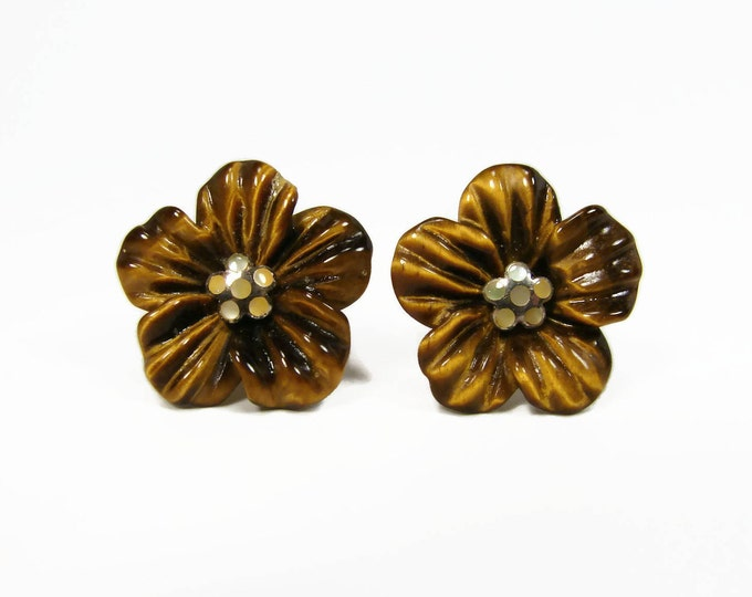 Carved Tiger Eye Flower Sterling Silver Earrings