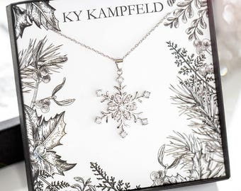Snowflake Necklace - Kailyn Snowflake Necklace -  Christmas Gift Necklace, Christmas Jewelry, Fabulous Christmas Present, Winter Necklace