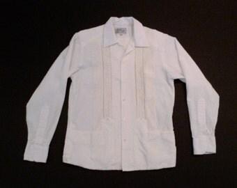 Guayabera Shirt Vintage Natural Cream Mexican Long Sleeve Medium Embroidered Shirt 1980s Yucatan Mexico Size Small Medium Mens Plattermatter