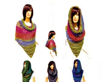 Cowl Hood Scarf, Poncho Front, Hooded Scarf, Chunky Scarf, Hooded Scarves, Infinity Scarf, Boho, Hippie Clothes, Hoodie