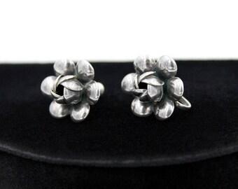 Sterling Silver Flower Earrings, ca. 1940s, Vintage Earrings