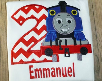 Thomas the Train Birthday Shirt with free Personalization Numbers 1 thru 9 for Boys or Girls