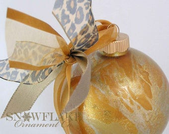 GLITTER AND GOLD Custom Christmas Ornament - Personalized Glass Gift