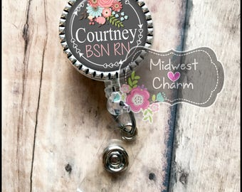 gray floral on a 1 inch silver bezel..Personalized retractable badge reel..nurse.labor and delivery..lpn..rn..md..id holder..lanyard