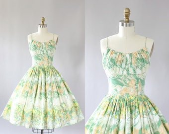 Vintage 50s Dress/ 1950 Cotton Dress/ Pastel Orange and Green Floral Shelf Bust Cotton Dress XS