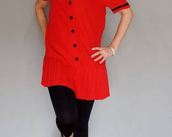 80's Does 20's Red Sailor Nautical Dress