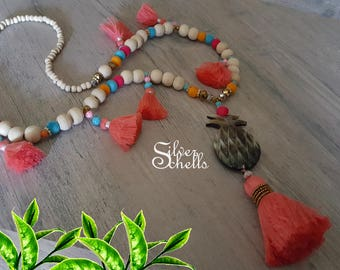 Romantic Playful Tassel Hippie Boho Chic Long Pineapple Coral Beaded Necklace