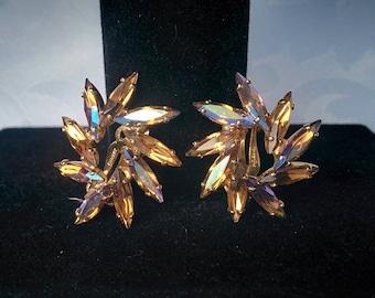 Aurora Borealis Earrings, Vintage Champagne Aurora Borealis Earrings,