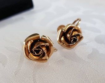 Karu Rose Earrings, Gold Rose Screw On Earrings signed Karu, Karu, Rose Earrings, Gold Earrings, Earrings
