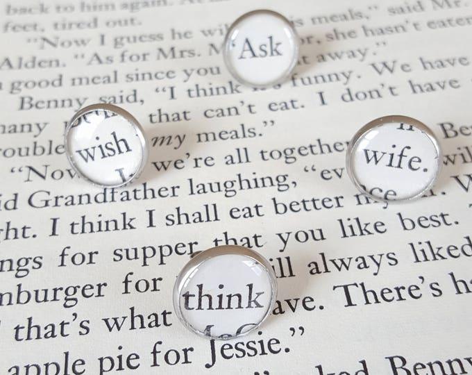 Word Poetry Earrings - Stainless Steel - Think - Wish - Ask - Bookish Earrings - Vintage Book Pages Paper Earrings - Librarian Earrings
