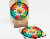 Drinks Coasters Set, Wood...