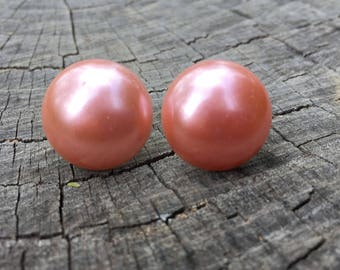 Large Deep Pink Pearls . Studs . Gold . Vintage Pearl Collection