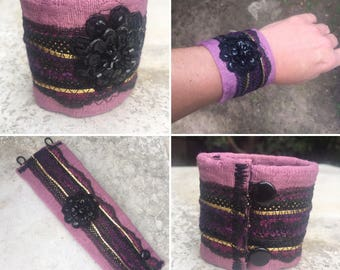 Purple Fabric Cuff Bracelet, Quilted Fabric, Black Lace, Black Sequined Cuff, One of a Kind, Eco-Friendly, Boho Accessories, Bridesmaid Gift