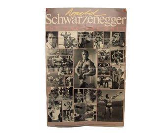 Vintage Arnold Scharzenegger Poster Body Builder Kitsch Paper Ephemera Black and White