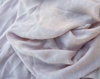 Sheer crepe pale orchid 100 percent silk jaquard fabric piece