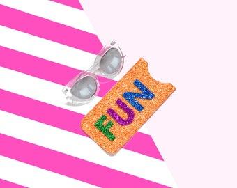 Orange Glitter Fun Sunglasses Case, Sunglasses Holder, Glasses Pouch