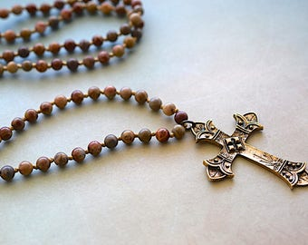 Antiqued Gold Brass Cross Pendant, Knotted Multi Tone Jasper Necklace