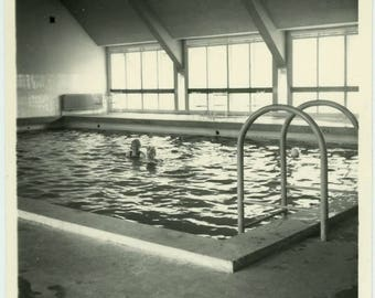 "Vintage Snapshot ""Swimming Lessons Start Today"" Black & White Swimming Swim Indoor Pool Summer Vacation Women Girl Lady Photo Picture - 49"