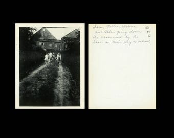"Vintage Photo ""Long Walk to School"" Snapshot Antique Black & White Photograph Found Paper Ephemera Vernacular Interior Design Mood - 23"