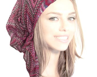 Pink Chevron Headcovering Head Scarf Magenta Lightweight Sheer Pre tied Bandana Stars Stripes Tichel Light As A Feather Collection!