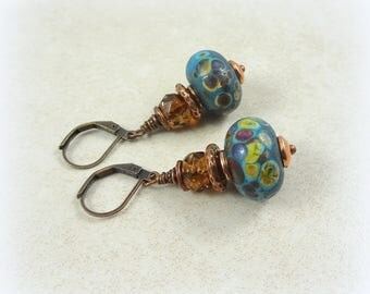 Blue and Brown Earrings, Handcrafted Lampwork and Czech Beads, Artisan Earrings, Denim Blue and Topaz Artisan Boho Earrings, Blue Earrings