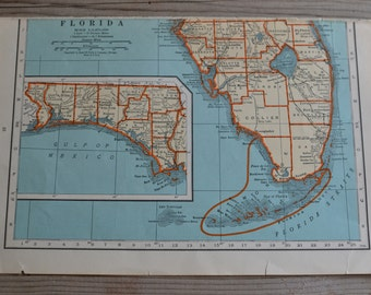 Florida's Southern Part Map Print Florida Straits Vintage