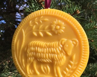 Beeswax Ornament -Ram in the Meadow - 4.25 in wide