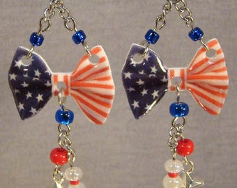 American Flag Bow Dangle earrings - Patriotic Jewelry - Independence Day Jewellery