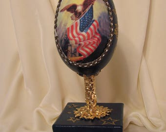 Faberge Style Patriotic Goose Egg Music Box