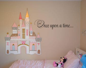 Once upon a time... / Disney wall decal quote wall decal vinyl wall sticker home decor Walt Disney vinyl lettering BC829