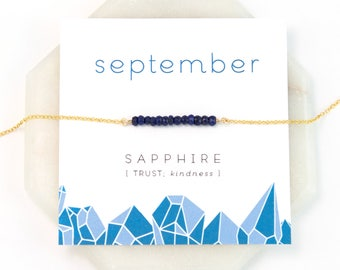 September Birthstone Necklace, Sapphire Gold Bar Necklace, Layering Necklace, Raw Crystal Necklace, Blue Sapphire, Gift for Girlfriend