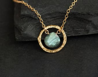 Labradorite Pendant Necklace, Hammered Circle Necklace, Dainty Gemstone Necklace Gold, Jewelry Trends, Gift for Girlfriend, Simple Stone
