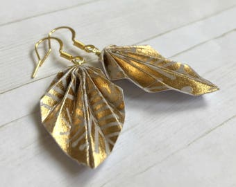 Origami Leaf Earrings // Gold Branches