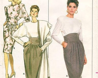 Sz 14/16/18 - Butterick Pattern 5871 - Misses' Long Sleeve, Contrast midriff, Mid-knee Dress & Stole  - Ronnie Heller