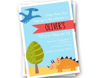 Dinosaur Birthday Invitations, Dinosaur Invitations, Dinosaur Invites, Dinosaur Party