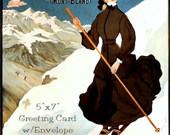"Chamonix, Travel Poster, 5""x7"" Greeting Card, + Envelope, Skiing, Art Nouveau, Skis, Snow, France, Forgotten Art Card, Pretty Girl Postcards"