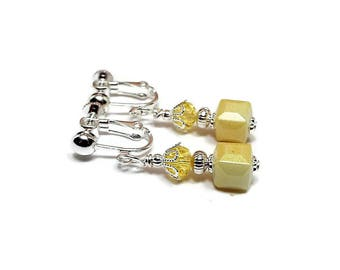Small Light Yellow Cube Clip on Earrings Beaded Drop Silver Plated Screw Back Summer Jewelry