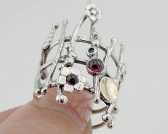 Garnet 925 silver ring, Hadar Jewelry, Handcrafted 9K Yellow Gold Silver Garnet Ring, Size 7.5, Gold silver ring, Gold garnet ring (ms 640r)