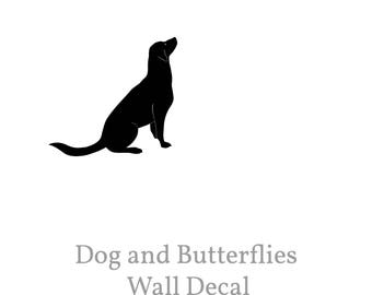 Dog Wall Decal and 3 Butterflies Black Removable Dog Decal Gift for Pet Lovers Children Wall Decal Nursery Dog Decor Baby Boy Decal