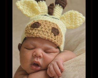 Giraffe Hat, MADE TO ORDER, All Sizes, Newborn, Baby, Toddler, Child, Adult, Wild Animal Hat, Safari Hat, Photography Prop, Winter Hat
