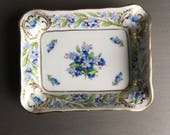 RESERVED!  Schumann Forget Me Not Ashtray Porcelain Ash Tray / Pin Trinket or Coin Dish / Bavaria Germany - #F1166