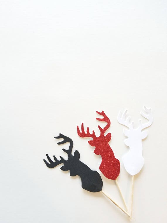 Stag Head Cupcake Toppers Set Dozen Antler Rack Hunting Party