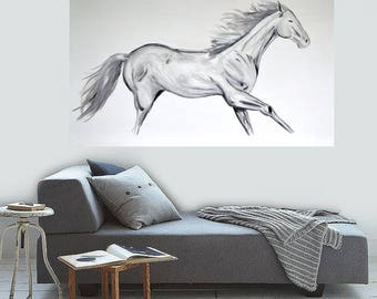 READY TO SHIP: 30x48 Original Large Room Art Textured Running Horses Equine Abstract Art Modern Black and White