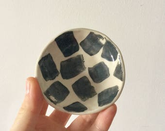 Black and white monochrome ring dish, bold patterned ring dish, handmade gift