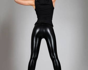 Yearly Sale: Black Leather Leggings , Shiny Spandex Pants, Meggings, Sexy Dance Wear, Heavy Metal, Stage Clothing, Glam Rock, Burning Man, b