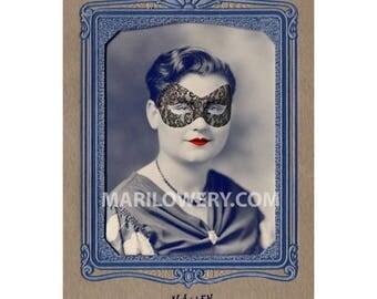Unusual Portrait Collage Art Halloween Decor Mardi Gras Woman with Cat Eye Mask 5x7 inch Print