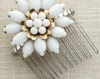 White Enamel Gold Flower Hair Clip Embellished Comb Handmade in USA Hair Pins 16V