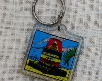 Key West Florida Keychain Vintage Southernmost Point Continental USA Key FOB Key Chain 7PP